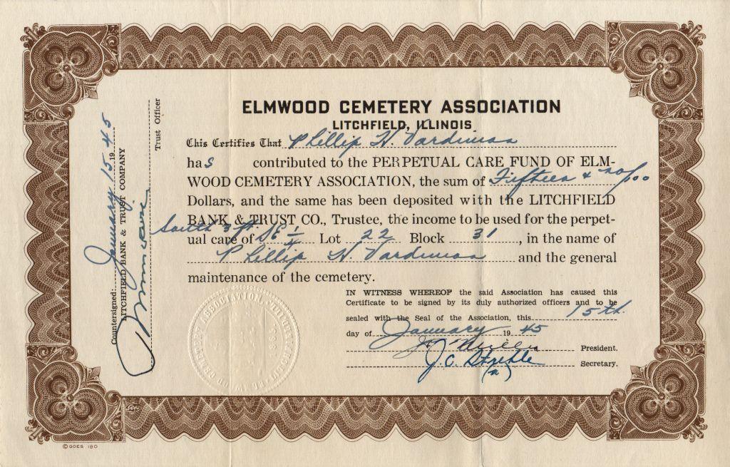 certificate cemetery care phyllis vardiman ann